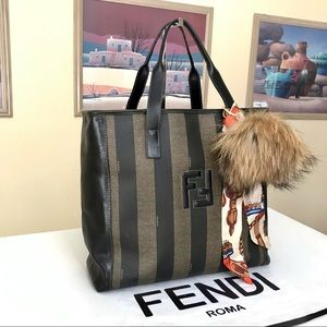 FENDI Calfskin Coated Pequin Striped Handbag 👜